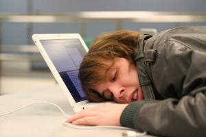 asleep at computer