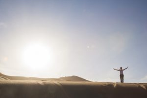 Silhouette of person in desert